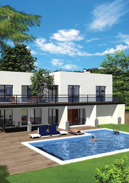 maison moderne en pierre blanche avec balcon de couleur noir, terrasse en bois, piscine et jardin