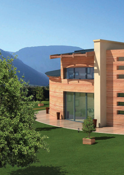 Maison moderne en pierre de couleur belge et en bois de couleur orange avec toit noir avec jardin