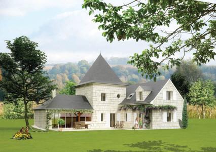 Maison en pierre grise, avec toit noir, avec terrasse et jardin